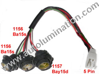 Tail Brake Reverse Turn Signal Backup Rear Automotbile Wiring Harness Pigtail Connector Sockets