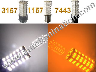 1157 3157 7443  Led Switchback  120 led White Amber Turn Signal Bulbs