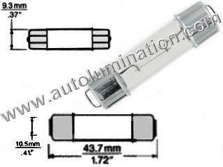 #211-2 212-2 212 211-2LL 214-2 578 FESTOON BULB DOUBLE END CAP BASE 12.8 Volt Double End Cap Base, C-8 Filament Design #211-2