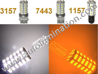 1157 3157 7443  Led Switchback  39 led White Amber Turn Signal Bulbs