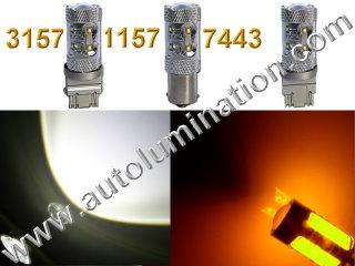 1157 3157 7443  Led Switchback 50 Watt Cree led White Amber Turn Signal Bulbs