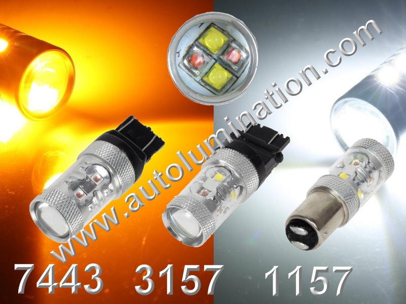 1157 7443 3157  Led Switchback Optical 60 Watt Cree  led Turn Signal Bulbs