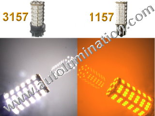 1157 3157 7443  Led Switchback  92 led White Amber Turn Signal Bulbs