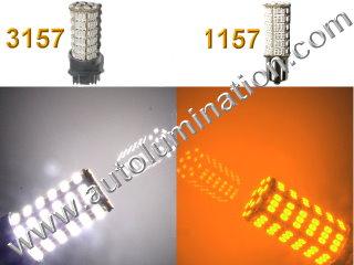 1157 3157 7443  Led Switchback  92 led White Amber Turn Signal Bulbs