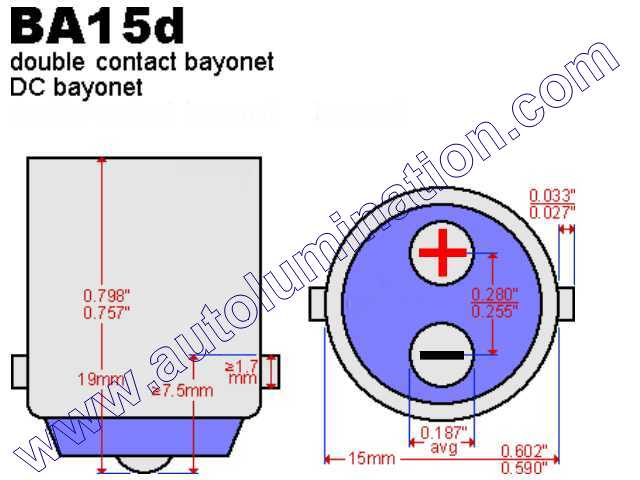 #1142, MINIATURE BULB BA15D BASE, S8 Double Contact (DC) Bayonet (Ba15d) Base, Maximum Overall Length, #1142 Miniature Bulb