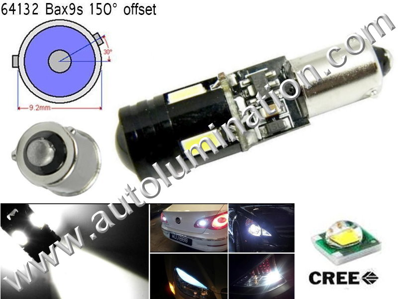 Bax9s Bayonet Base Bulbs H6W BAX9s 64132 Osram 12082 Phillips 9 Watt Cree Cool White Led Side Marker License Plate Bulb
