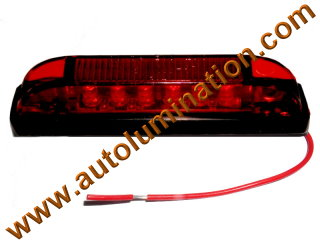 Truck Trailer RV Clearance Side Marker Submersible Red 6 Led Light