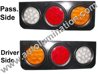 Truck Trailer RV Combination Tail Light Brake Turn Signal Reverse Back Up Light Bracket Aluminum Mount Black Led Light Assembly