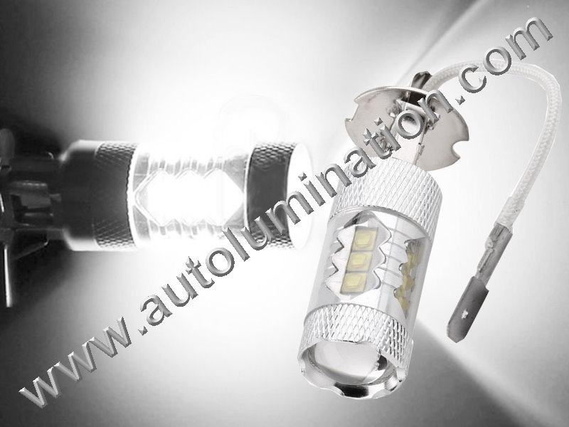 H3 PK22s 6000K Super White LED 80 Watt Cree High Powered Headlight Bulb