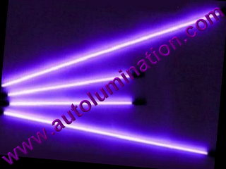 Car with Neon Underbody Light Tubes Purple