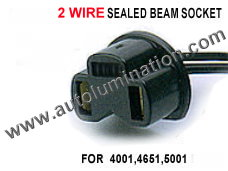 2 Wire Sealed Beam  Socket Pigtail Connector Wire