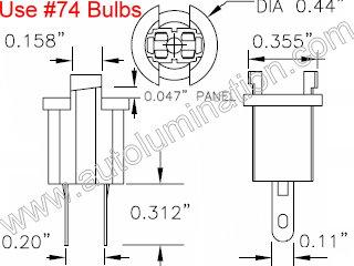 Instrument Panel Light T17 T1 1/2 Wedge Bi Pin Socket Bulb Holder