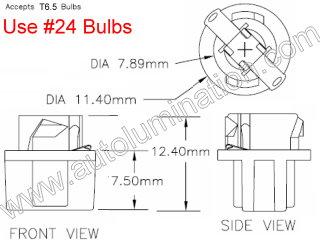 24 T6.5 T-1/2 Bulb Twist Lock Socket Base Holder Wedge (W2.1x4.9d)