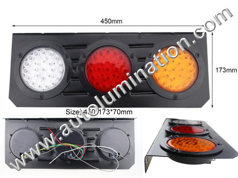 63 led Truck Trailer RV Combination Tail Light Brake Turn Signal Reverse Back Up Light Bracket Aluminum Mount Led Light Assembly Wiring