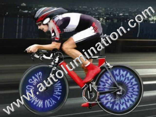 Cycling Bicycle Flash 30 Blue LED Wireless Custom Messaging Bike Wheel tire Lights
