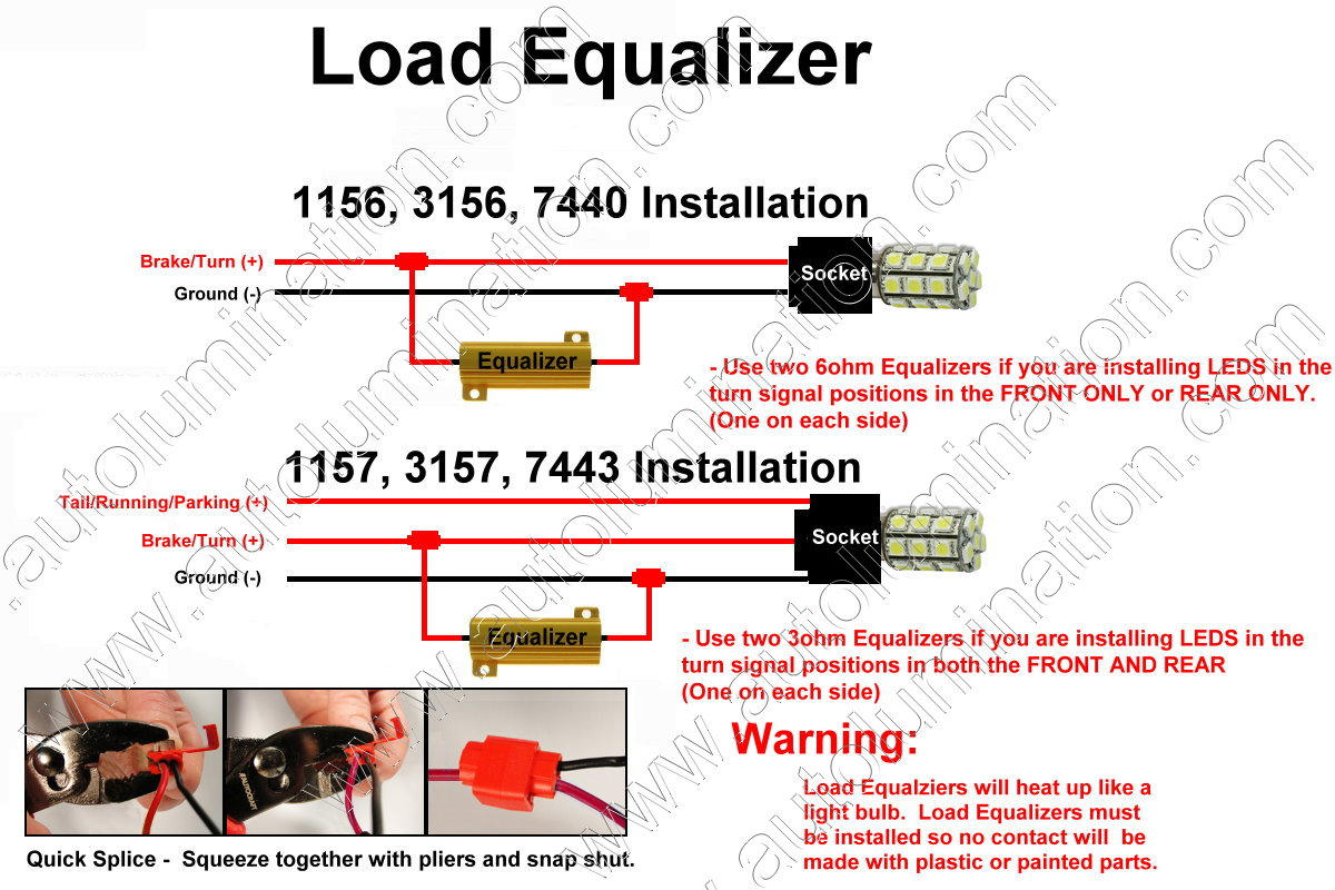 Led Load Resistor Wiring Diagram For Trailer Lights 51 Wire Tail Light On Harness Installation Flashers Resistors Equalizers Turn Signal Bulbs Fix At